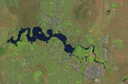 Landsat scene depicting Canberra; a few visible bands have been picked out for their colour